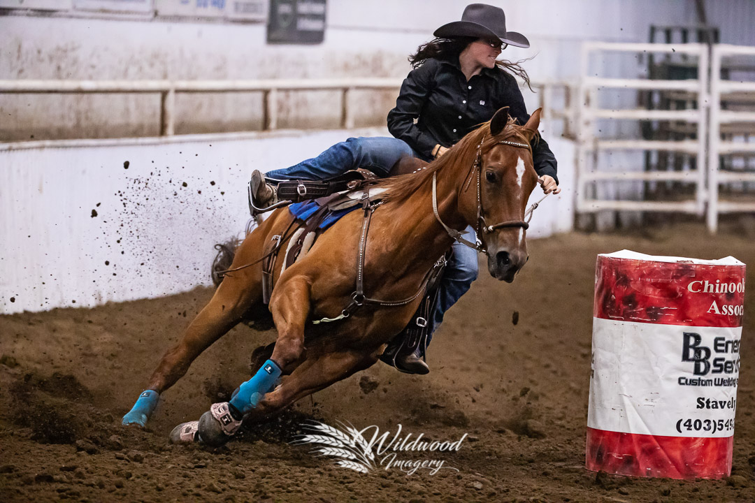 Cariann Breton competing at the Cardston Friday Perf in Cardston, Alberta, Canada on August 10, 2018. Photo taken by Wildwood Imagery / Chantelle Bowman.