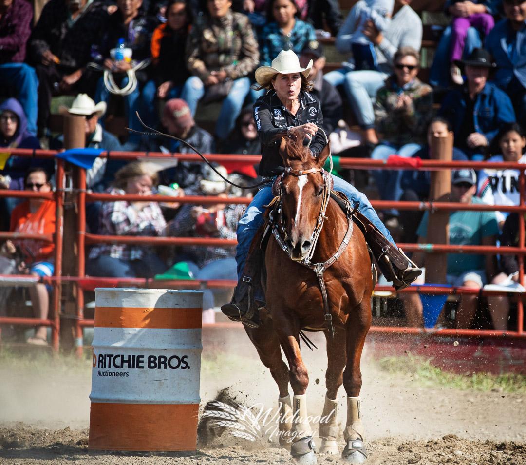 CAROLYNN KNAPP competing at the Kikino Stampede Sat Perf in Kikino, Alberta, Canada on August 18, 2018. Photo taken by Wildwood Imagery / Chantelle Bowman.