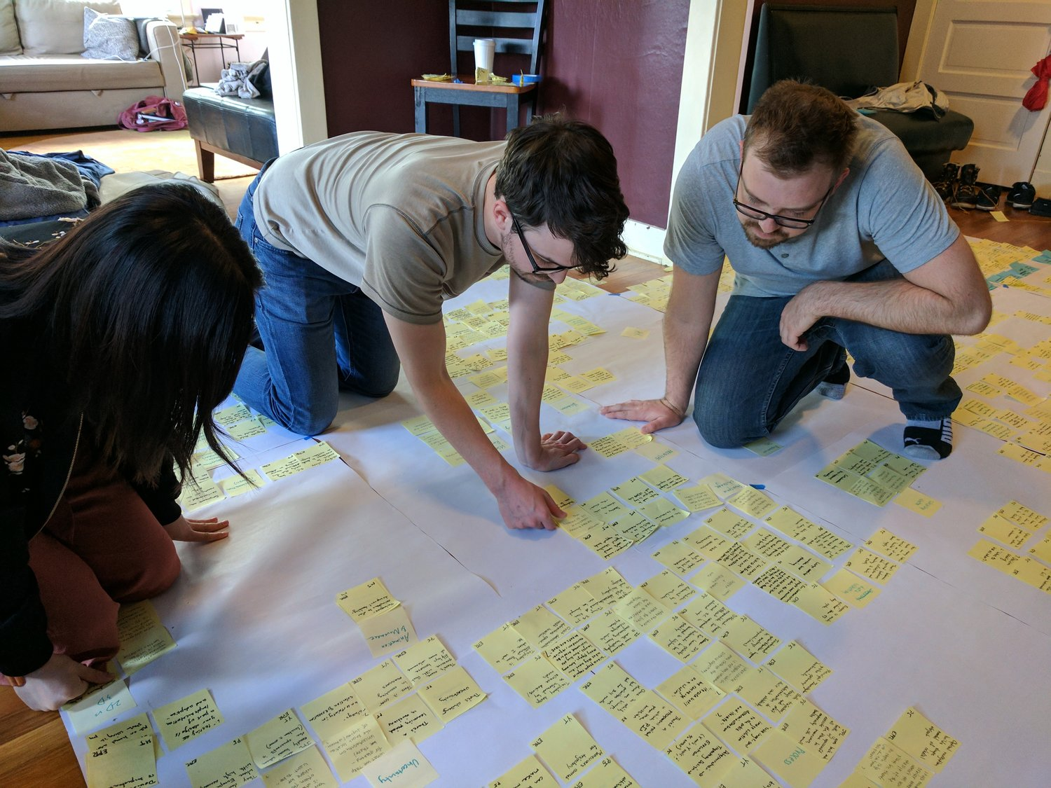 Phase 1 - offsite to start transcribing interviews and sort data.