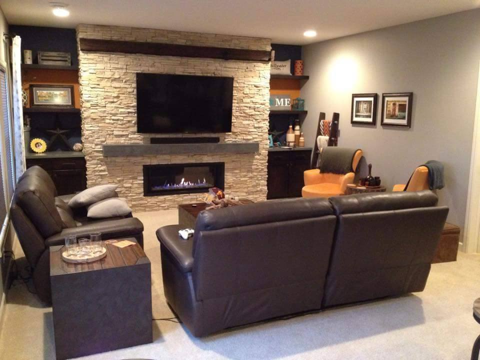 Concrete fireplace hearth and basement remodel