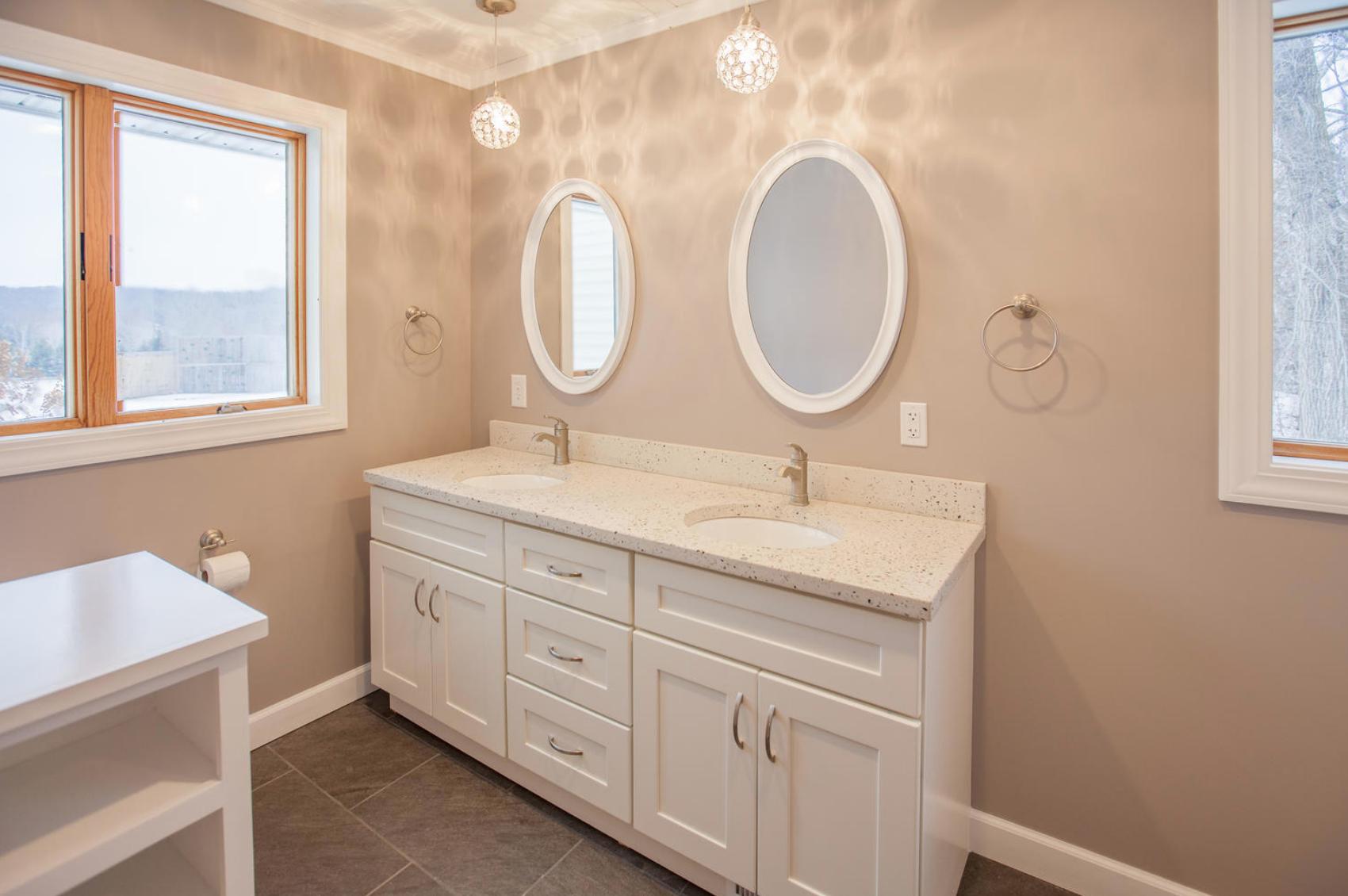 Concrete vanity with under mount sinks