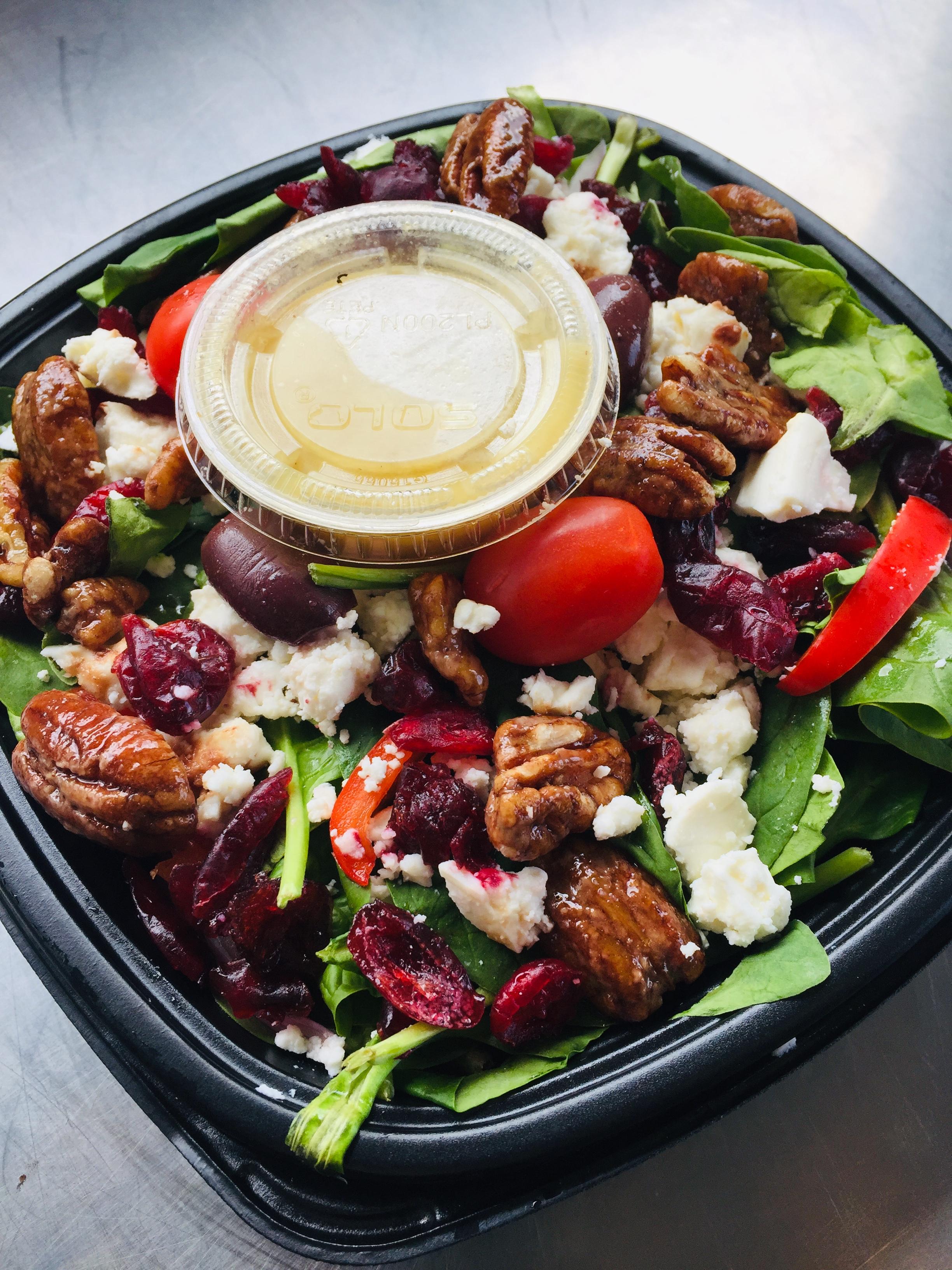 Spinach & Feta Salad:  (Sugared Pecans and Fig Vinaigrette)