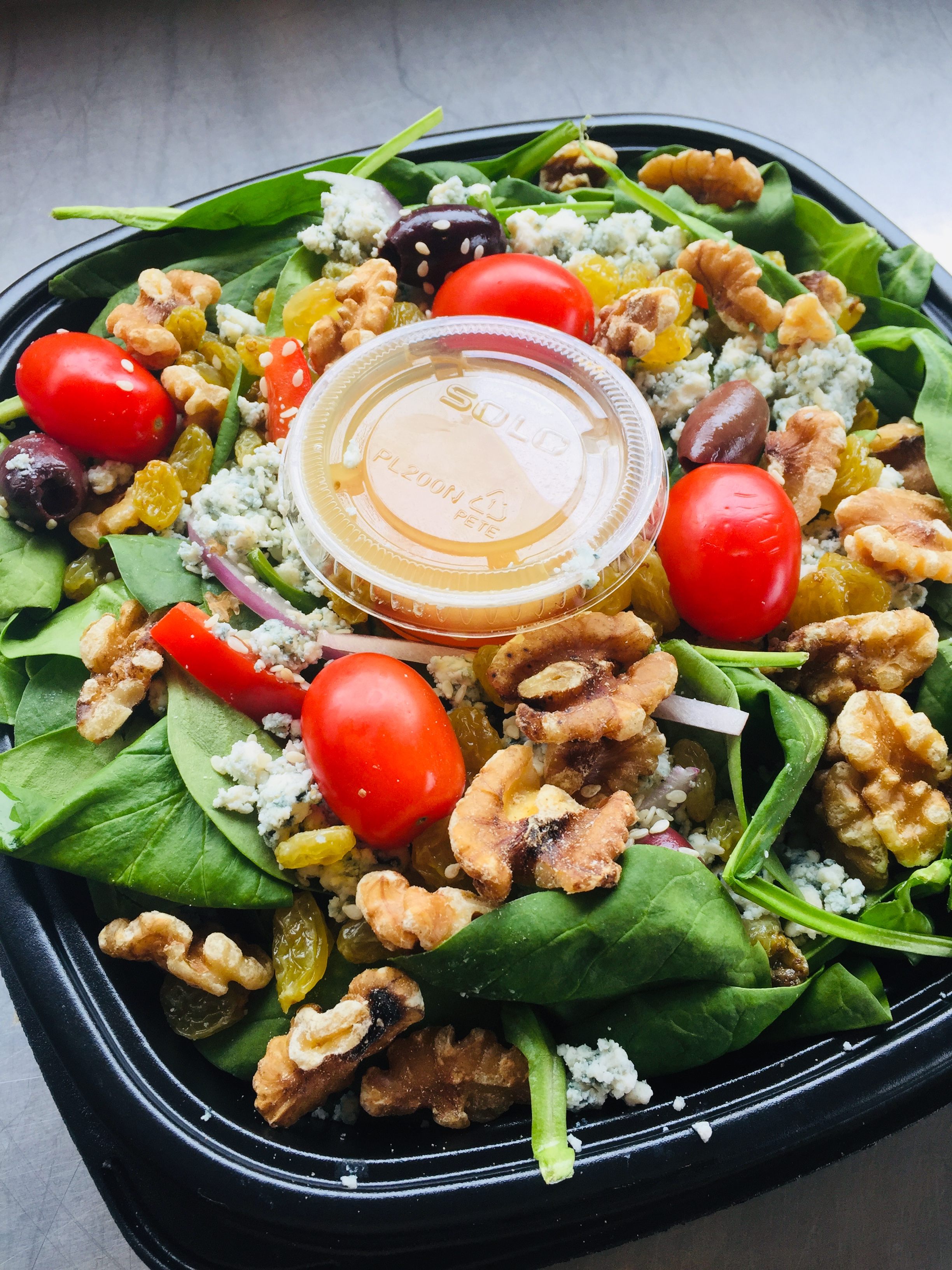 Spinach & Bleu Cheese Salad: (Walnuts and Pepper Jelly Vinaigrette)