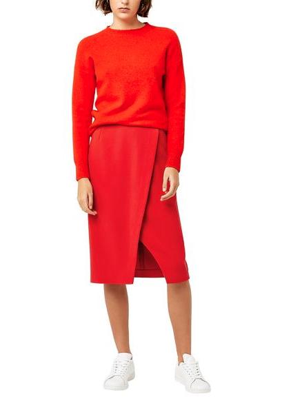 Warehouse- Wrapover Red Skirt