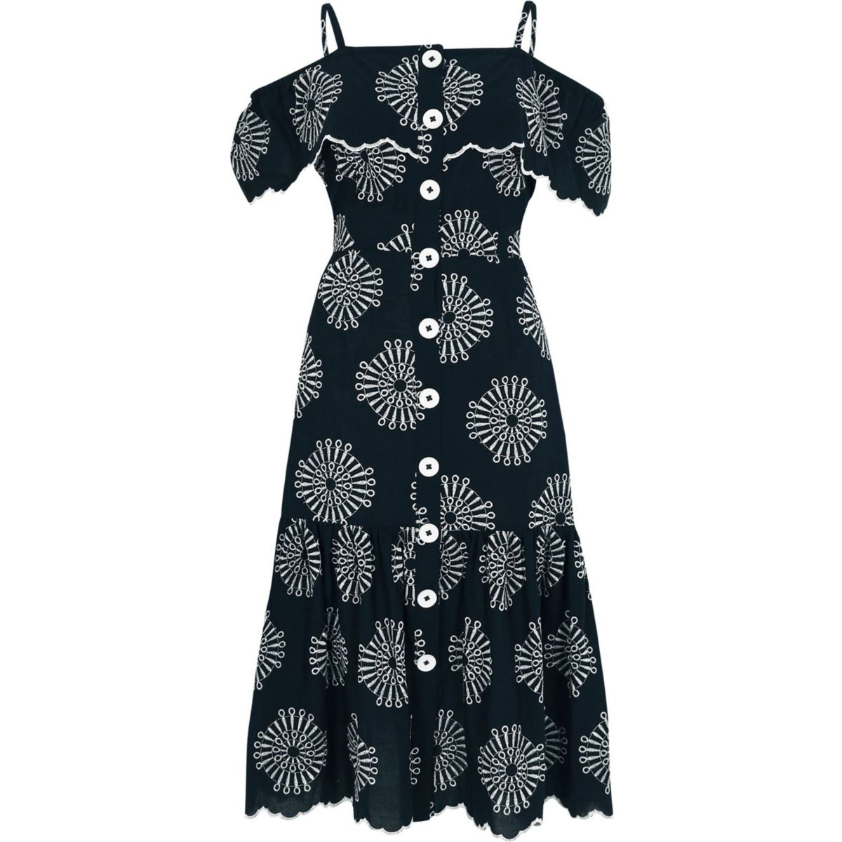 River Island Navy Embroidered Dress £65
