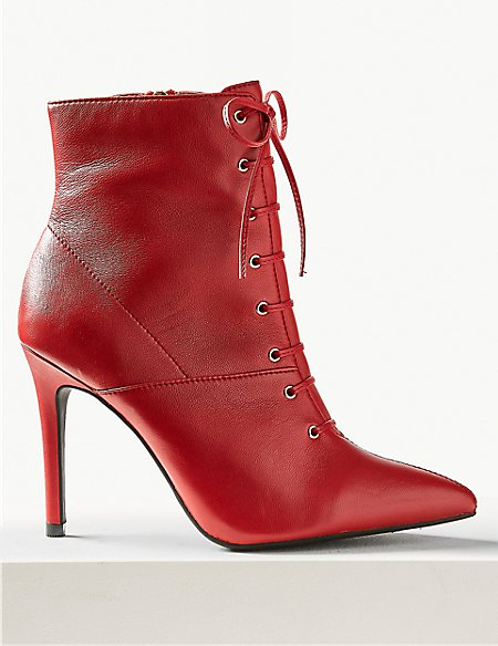 M&S Collection Leather Stiletto Heel Ankle Boots