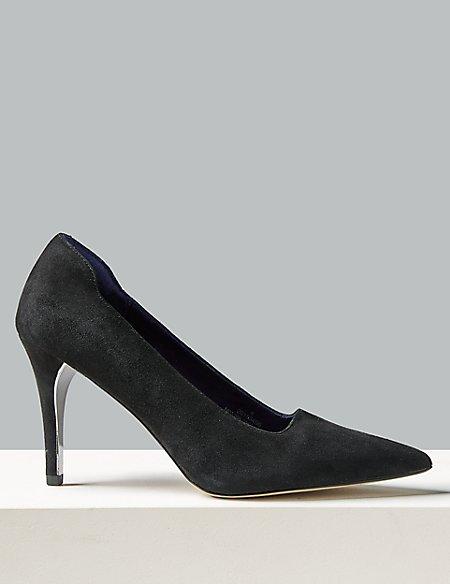 Suede Stiletto Heel Court Shoe