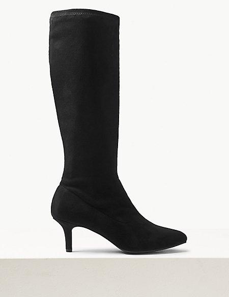 Fitted Knee Length Kitten Heel Boots