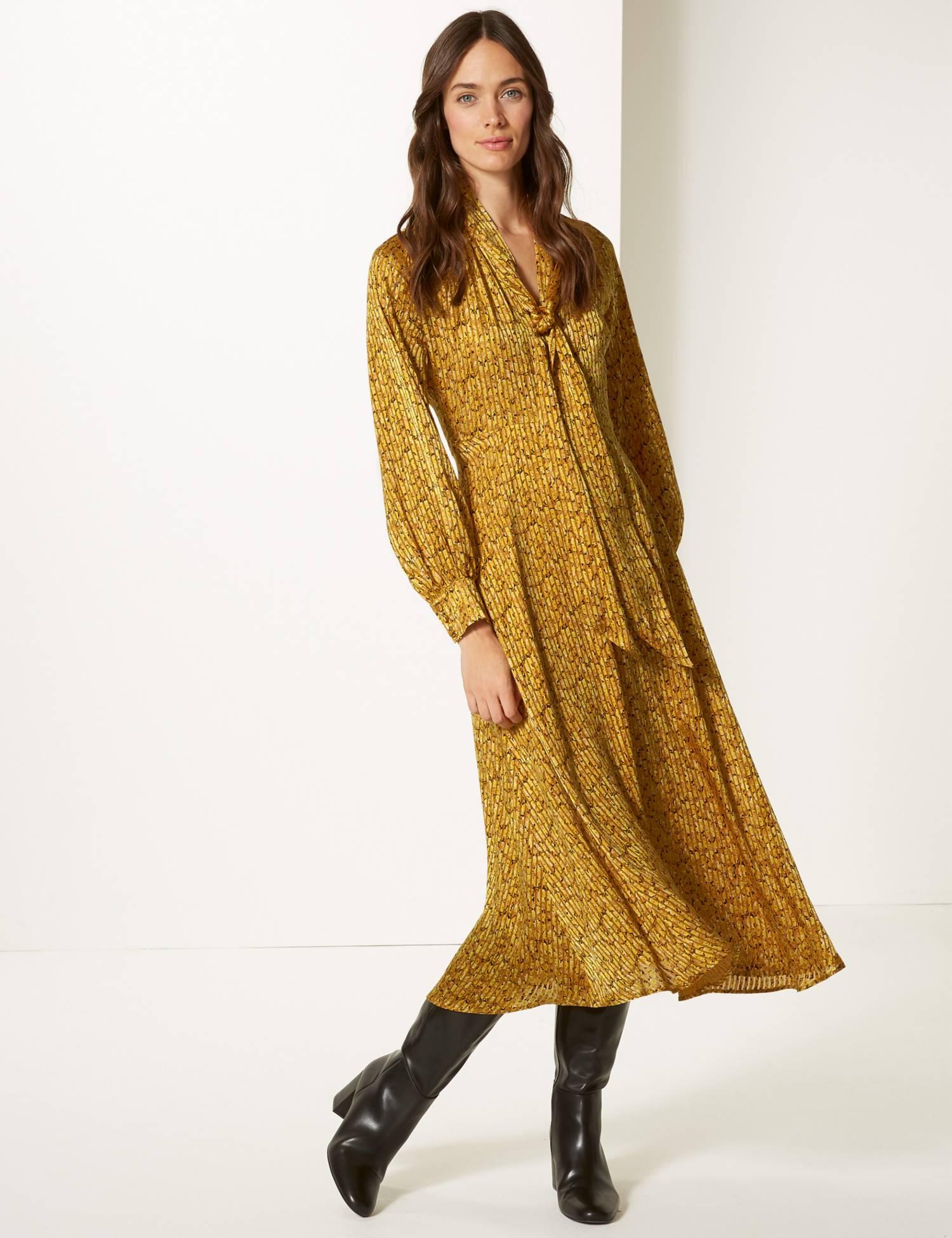 Animal Print Long Sleeve Skater Midi Dress