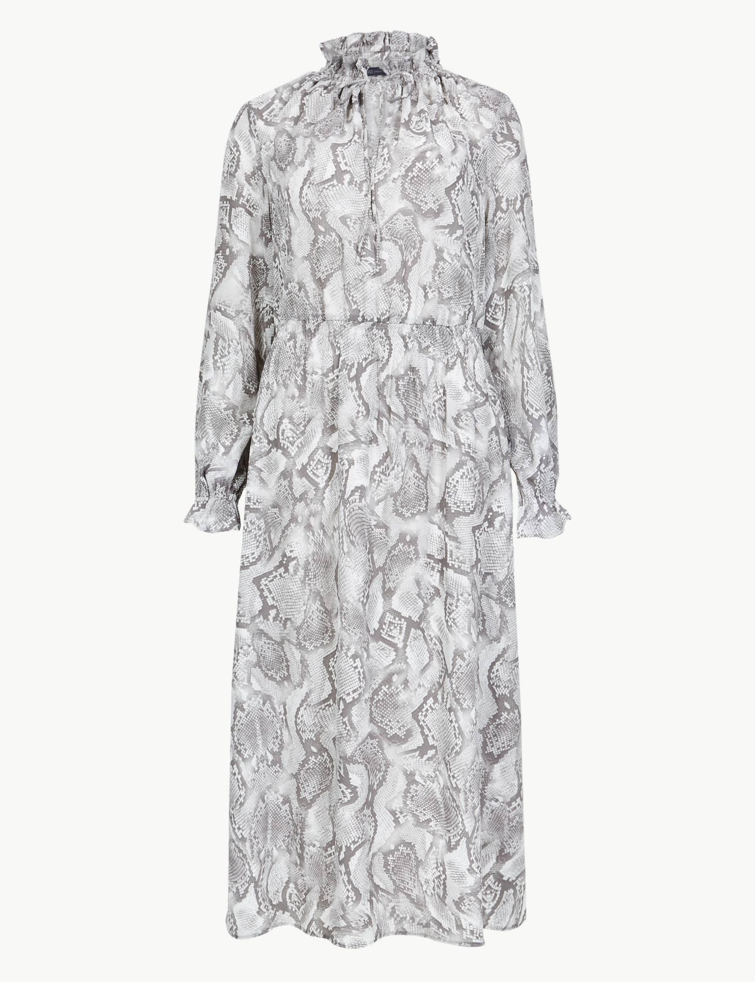 Animal Print Long Sleeve Shift Midi Dress