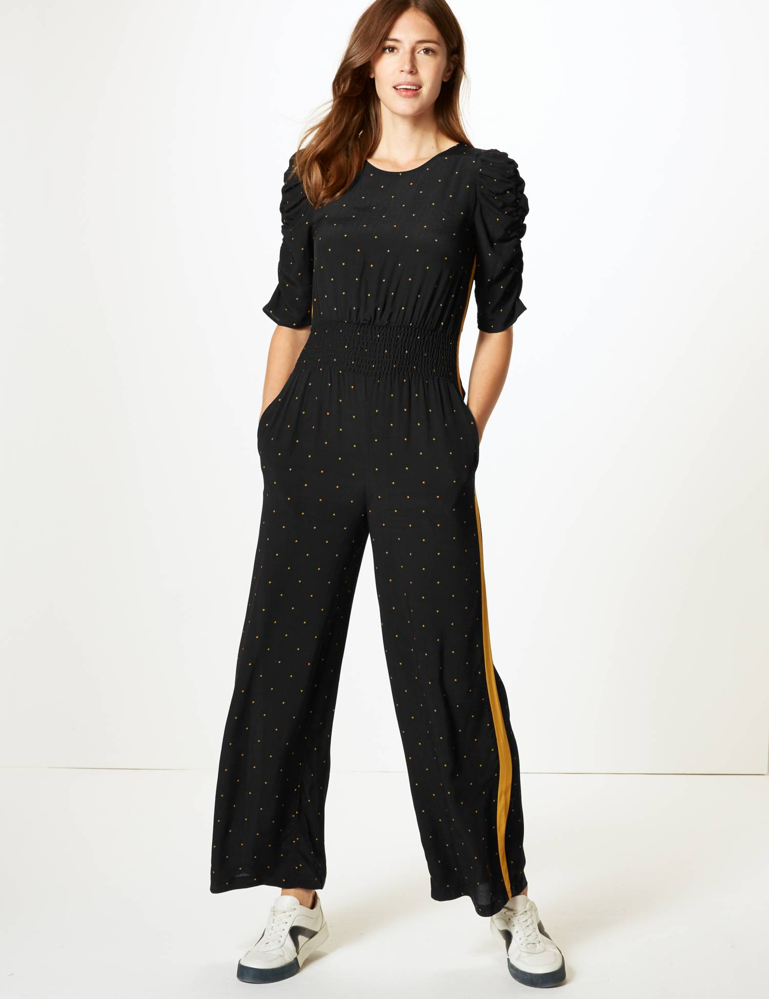 Star Print Half Sleeve Jumpsuit