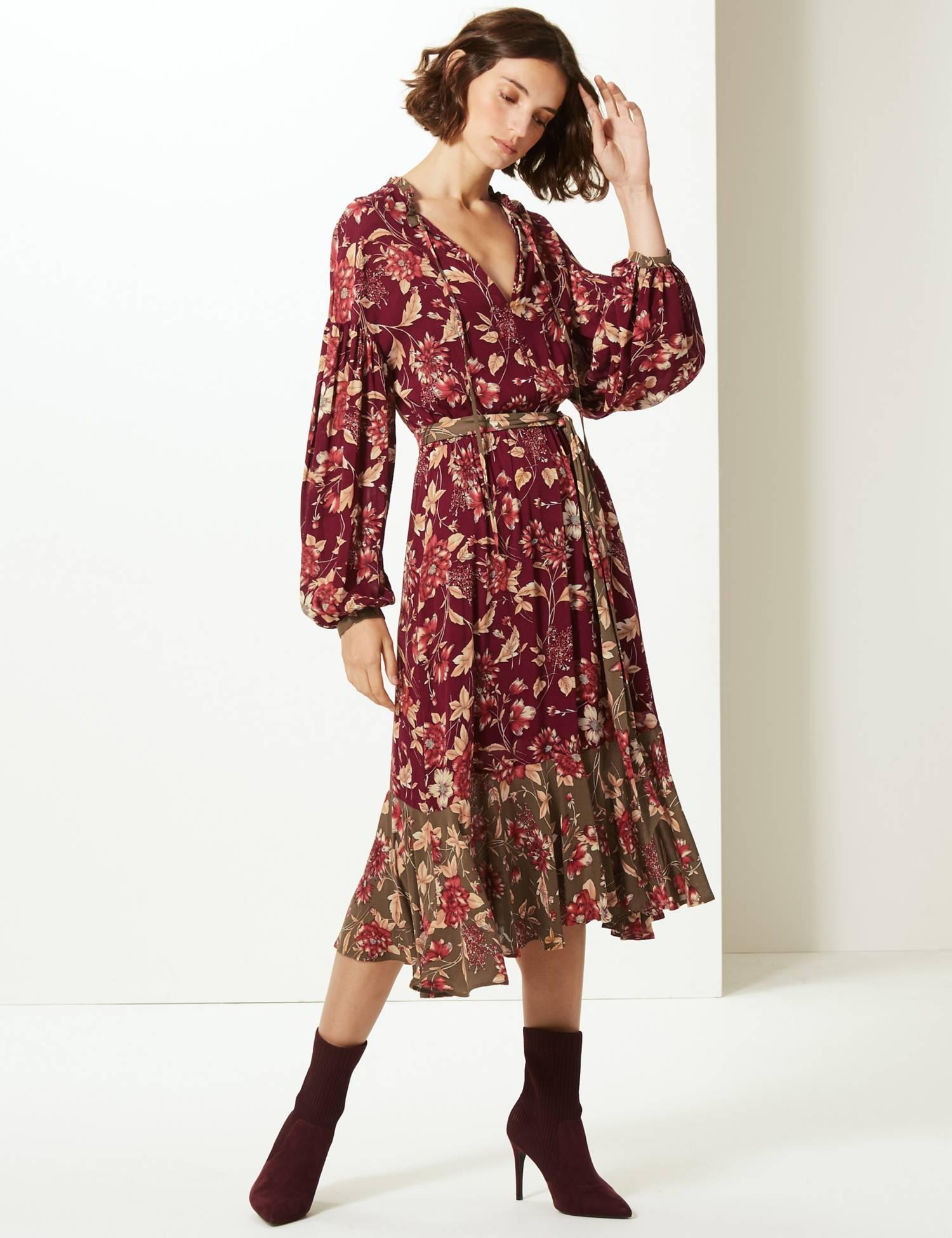 LIMITED EDITION Floral Print Long Sleeve Tea Midi Dress