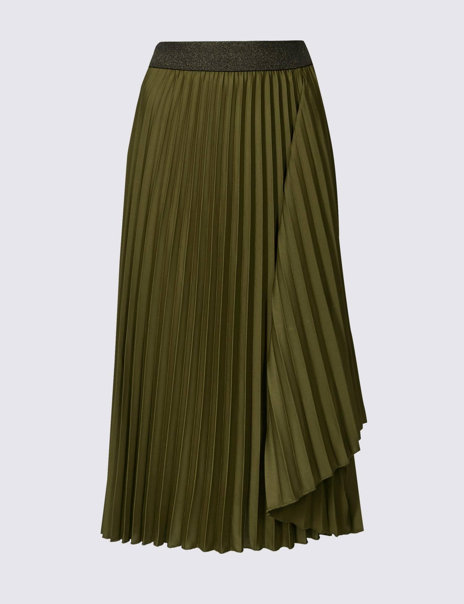 PER UNA Green Pleated Skirt