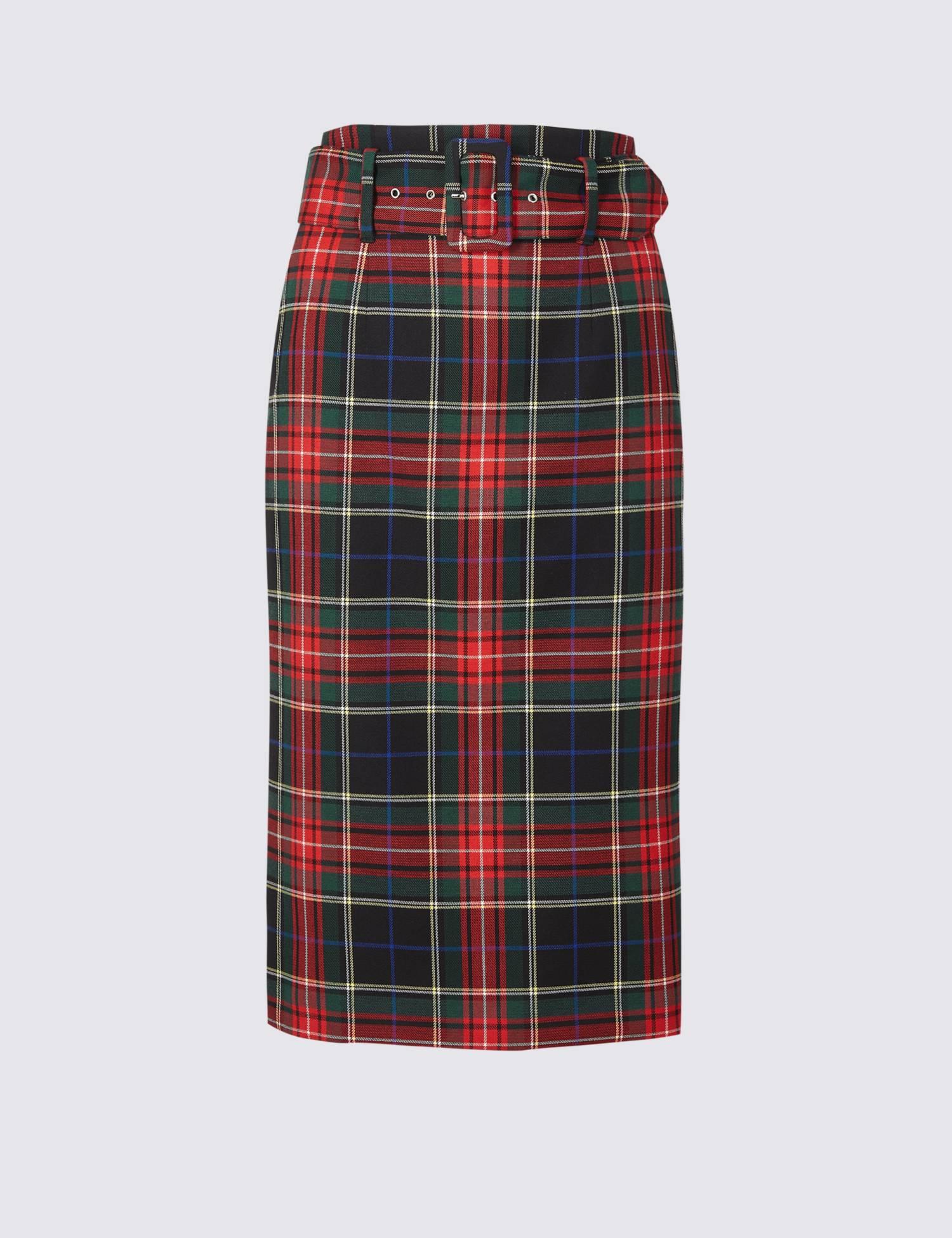 Collection Checked Pencil Midi Skirt