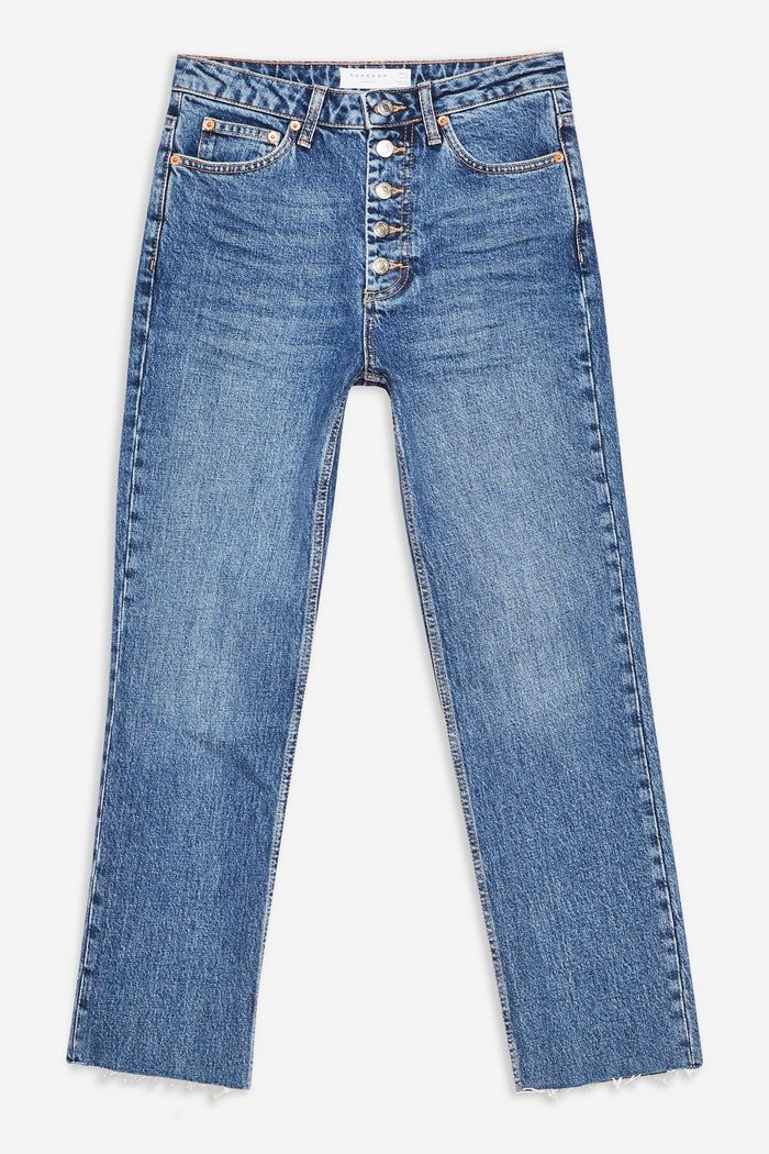Topshop Straight Button Fly Jeans