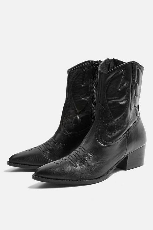 Black Topshop Western Boots