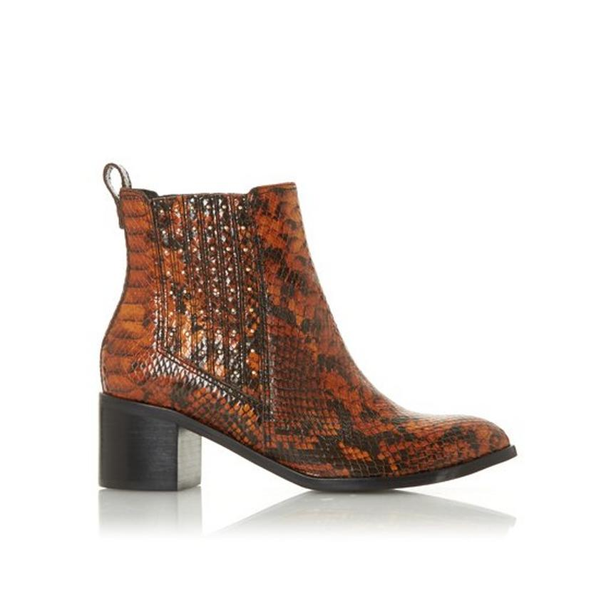 Dune Snake Skin Ankle Boots