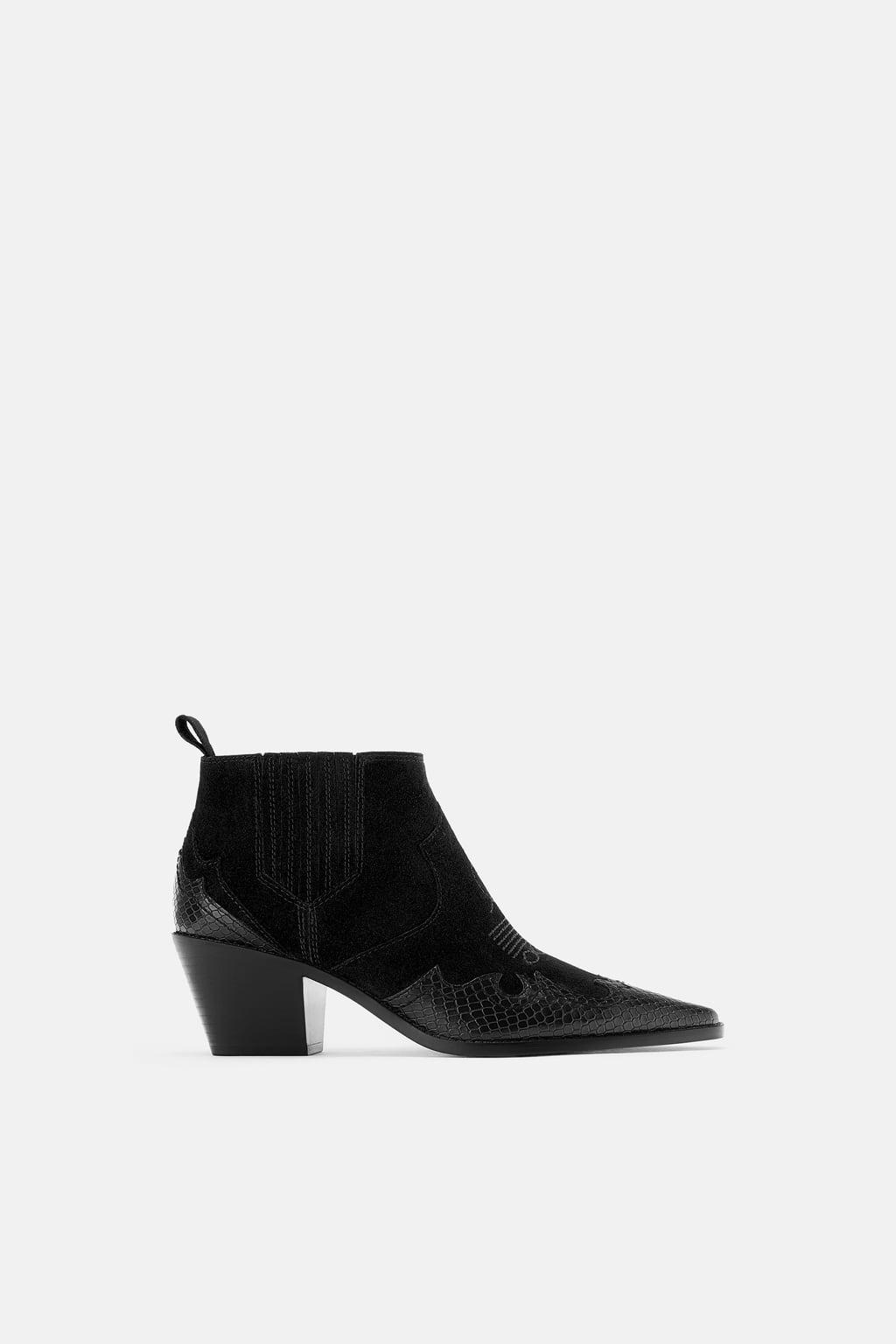 Zara Split Suede Cowboy Boots