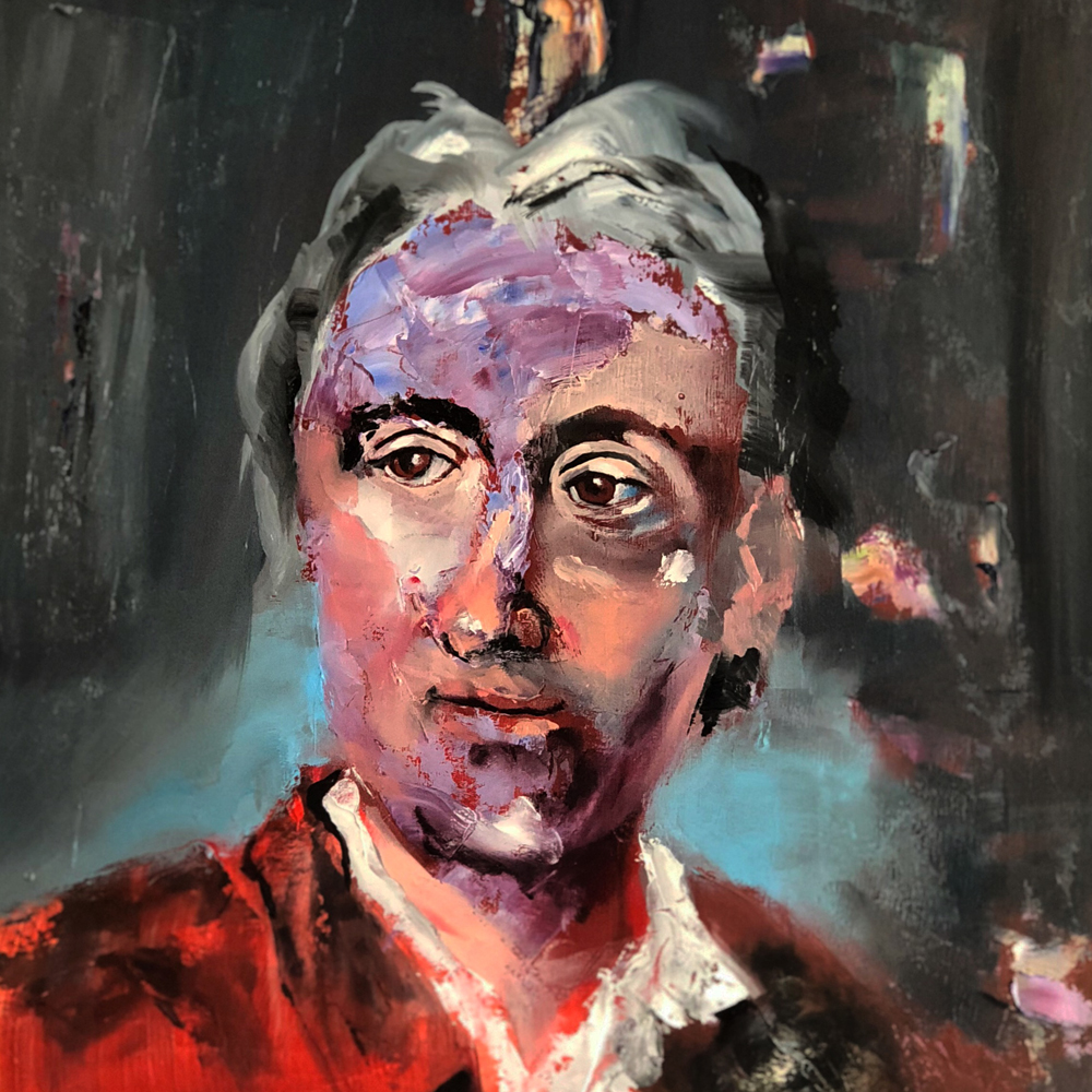 Denis Diderot, 2018 Oil on Paper 28x28cm (Available for Sale)
