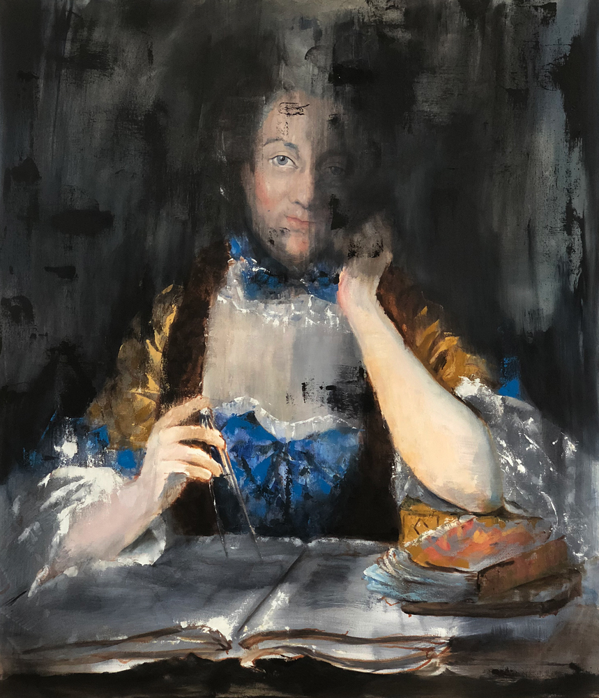 Émilie du Châtelet, 2018 Oil on Canvas 109x91cm (Available for Sale)