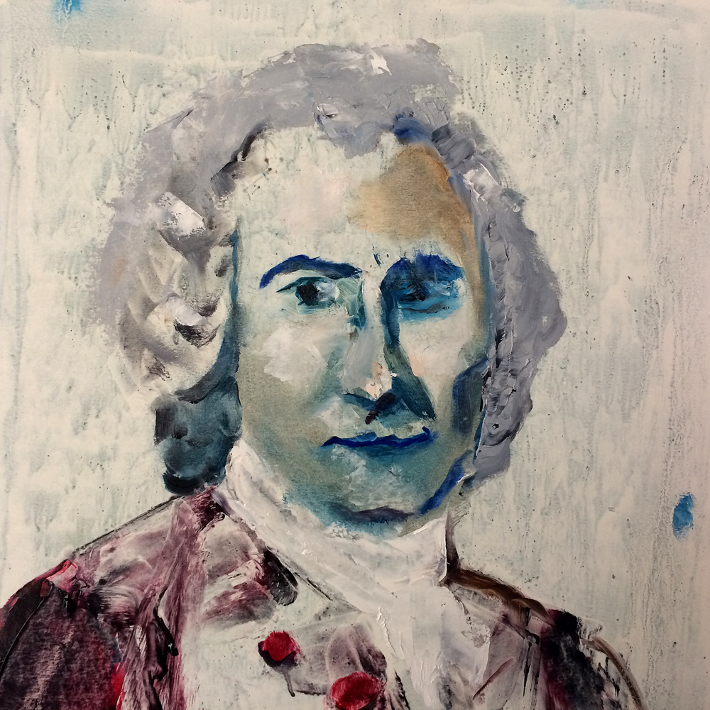 Jean-Jacques Rousseau, 2017 Oil on Paper 28x28cm (Available for Sale)