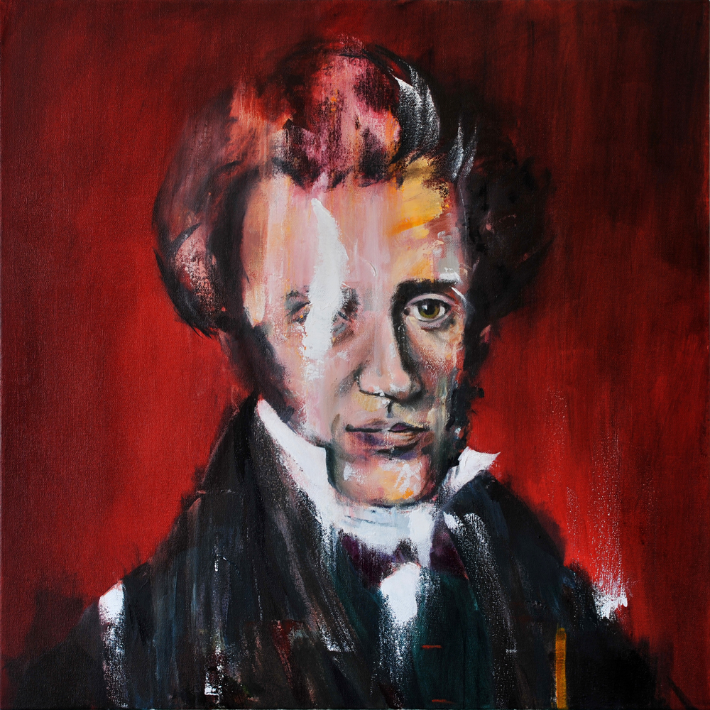 Søren Kierkegaard, 2017 Oil on Canvas 61x61cm (Available for Sale)