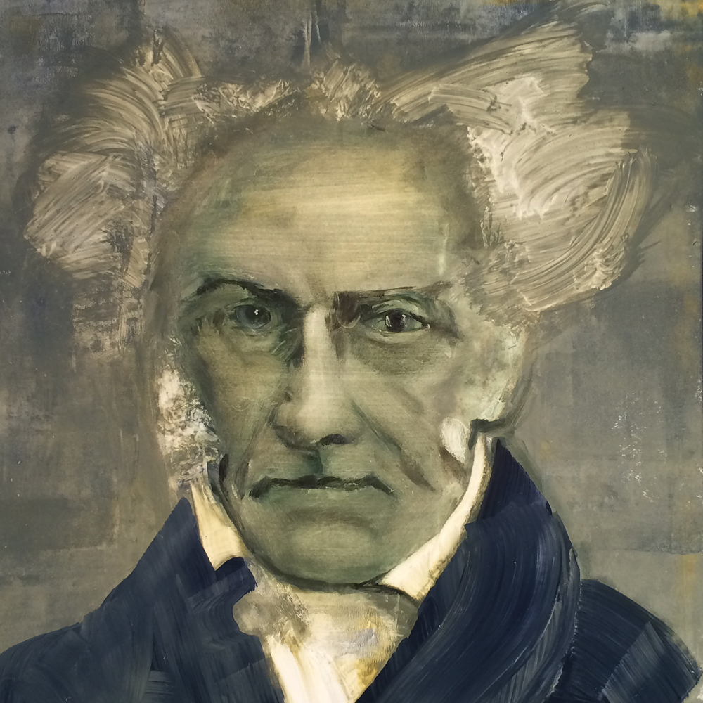 Arthur Schopenhauer, 2018 Oil on Paper 28x28cm (available for Sale)