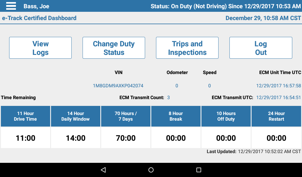 The Dashboard - The main page of the app. At a glance, you can see how many hours you have available to drive today, how long until you need to take a break and your current duty status is. At a touch, you can view your logs, change your status, set up a trip, and more.