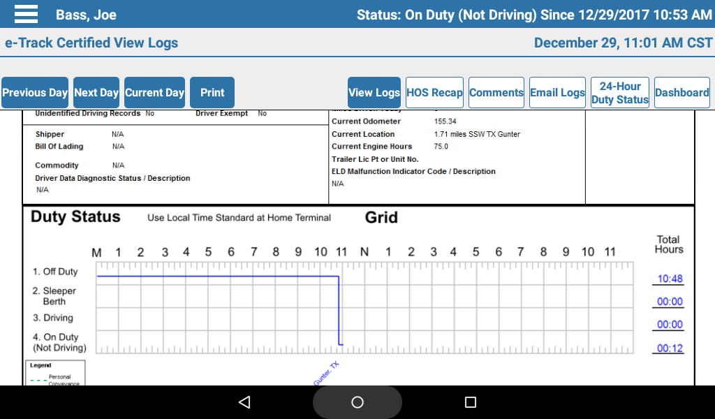 Your Logs - Need to review how long you've driven in the last week? It's as easy as going to the View Logs screen. From this screen, you can also email your logs.