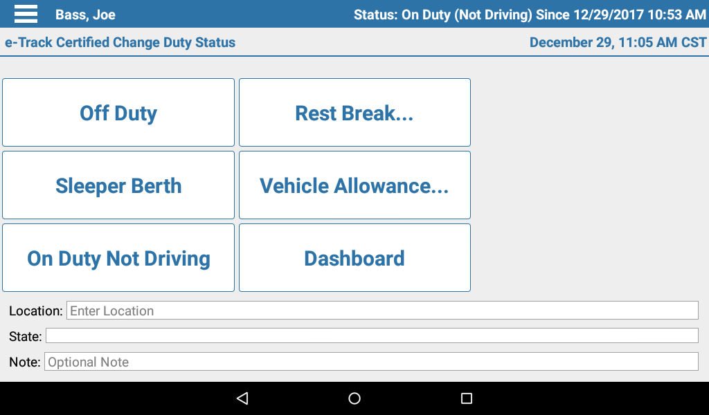 Change Duty Status - When it's time to go on or off Rest Break, Off Duty, or On Duty Not Driving, you can set your status here. And if your account has been set up for it, Personal Conveyance, Yard Move and other specialized duty statuses can be found here as well.