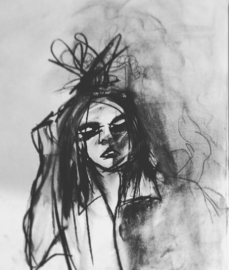 Handen i håret.   Kolteckning av Ida Gust.