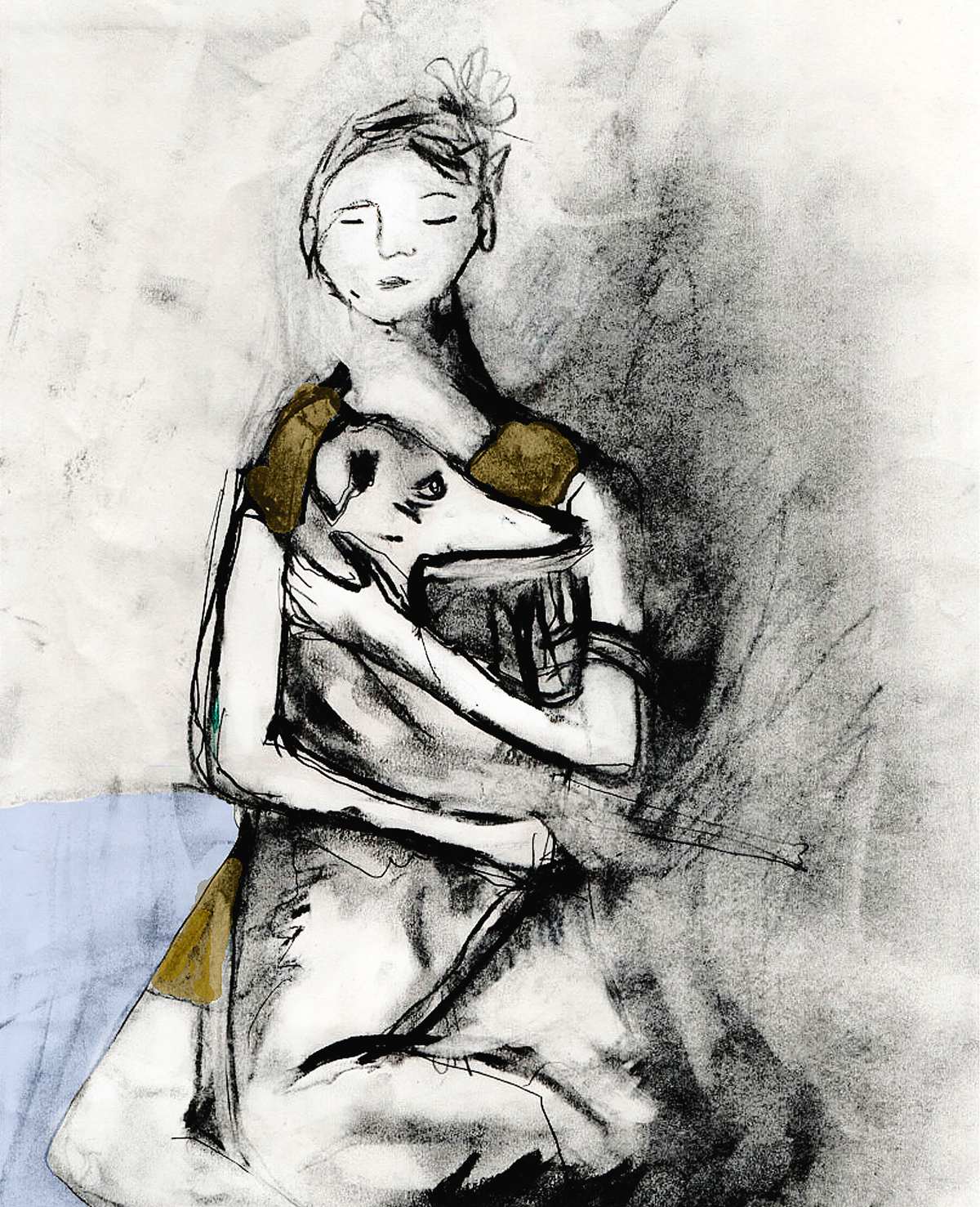 Hunden med kvinnan.   Kolteckning av Ida Gust.