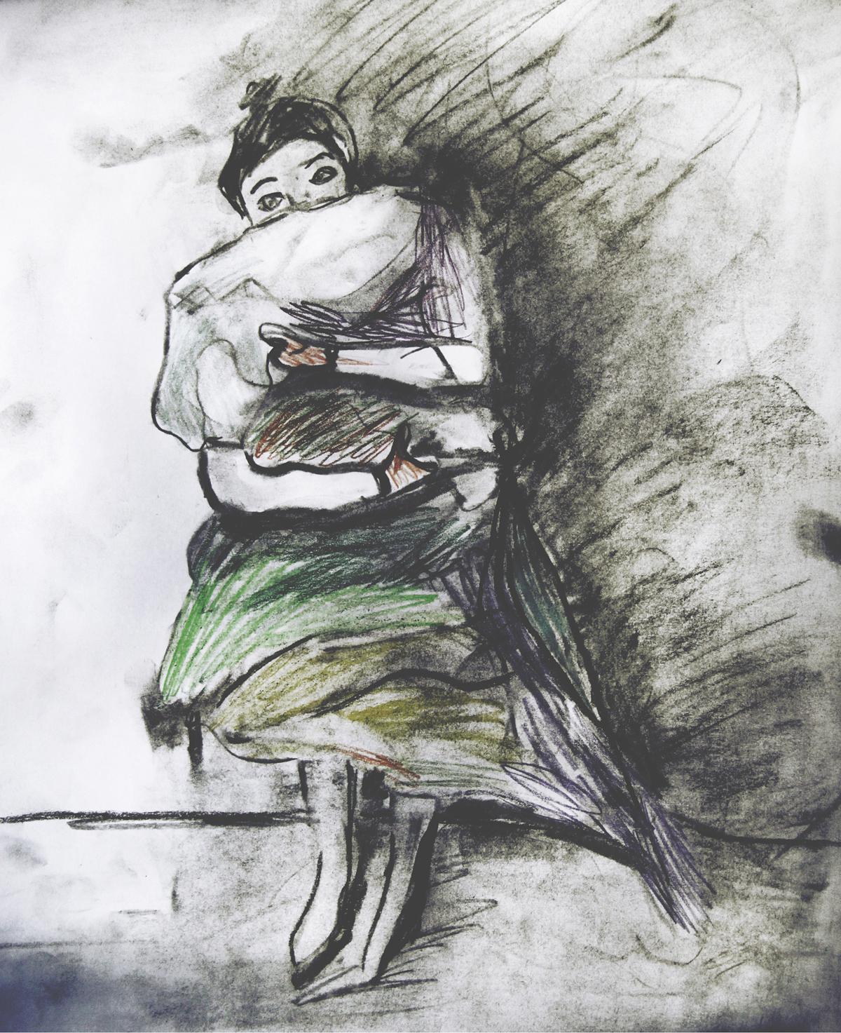 Kramen   .  Kolteckning av Ida Gust.