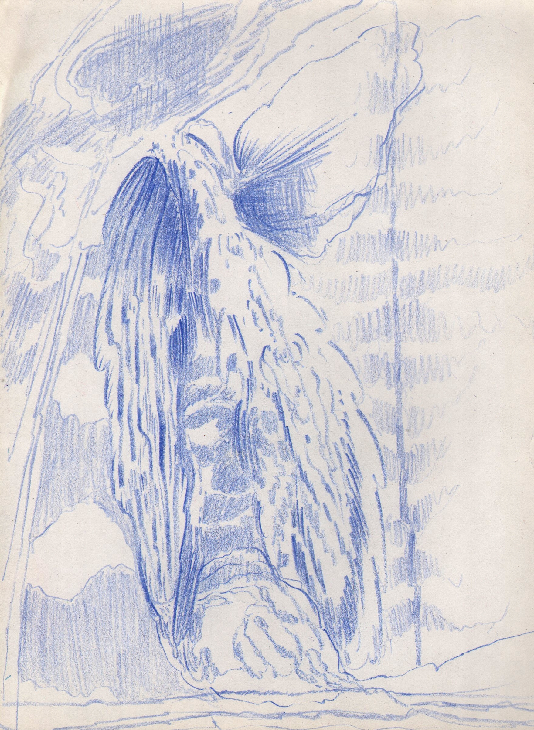 Blue Light Cascade, 2016, 8 x 6 inches, pencil on paper
