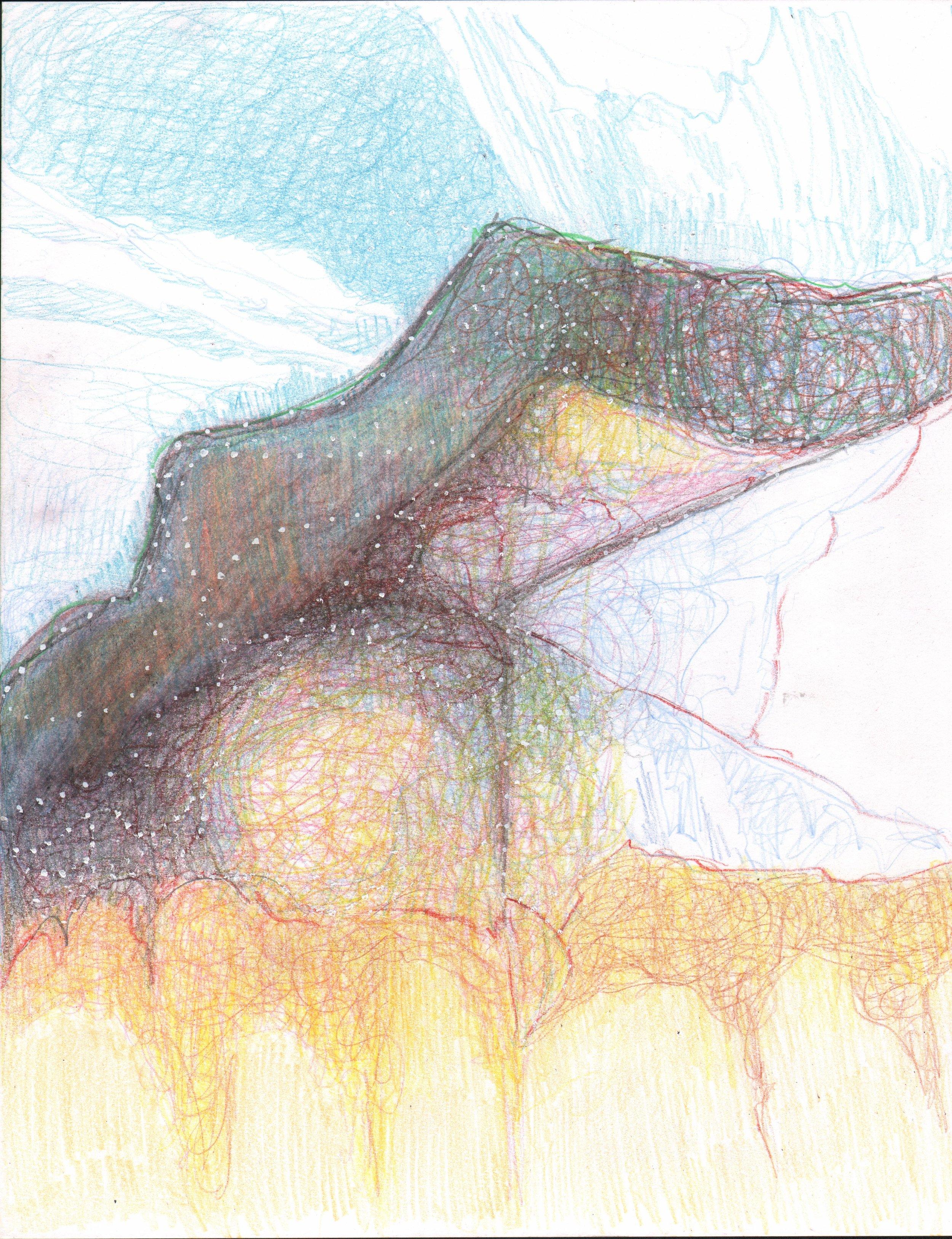 Bridge, (the twilights), 2017, 14 x 11 inches, pencil on paper