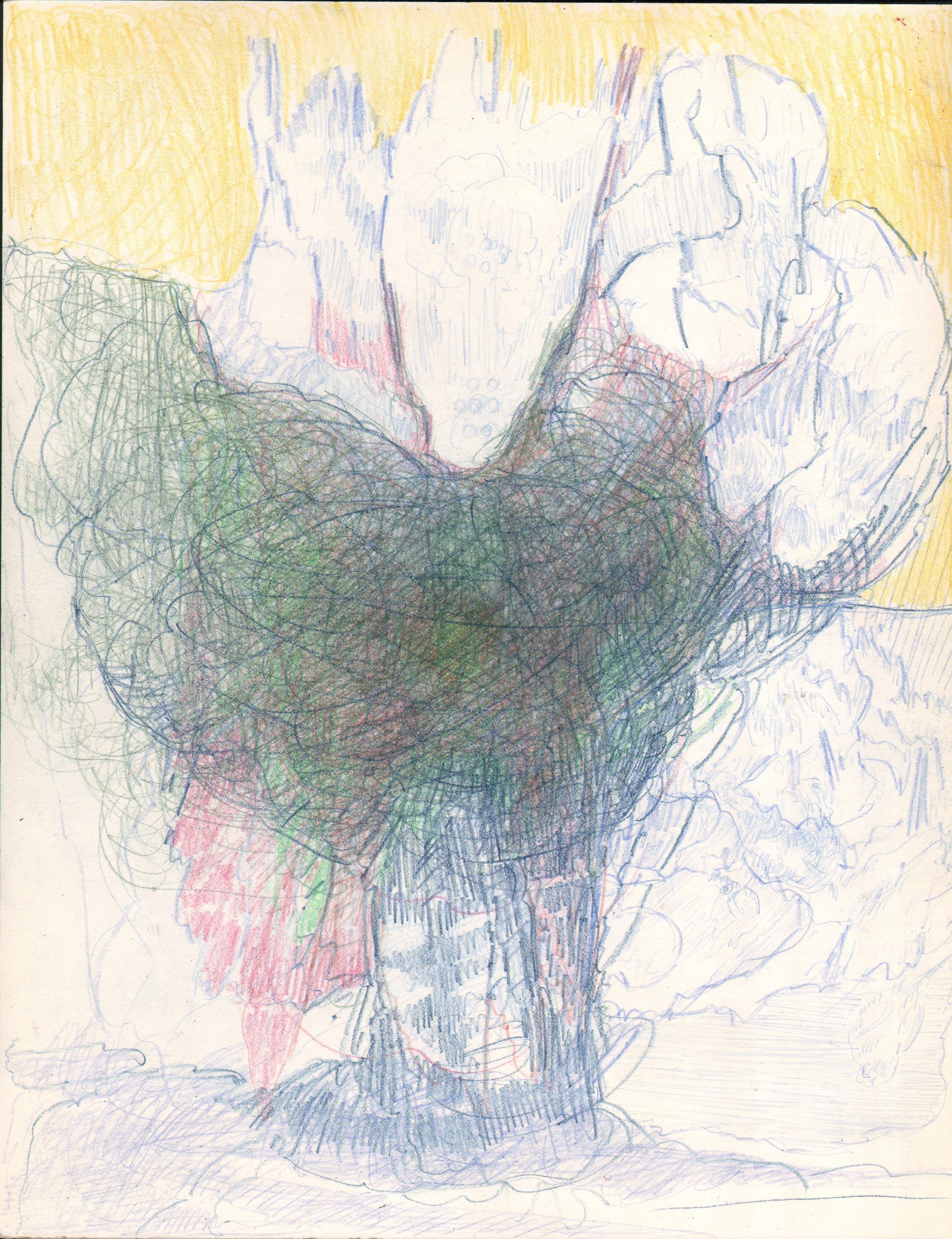 Twilight Downpour, 2017, 14 x 11, pencil on paper