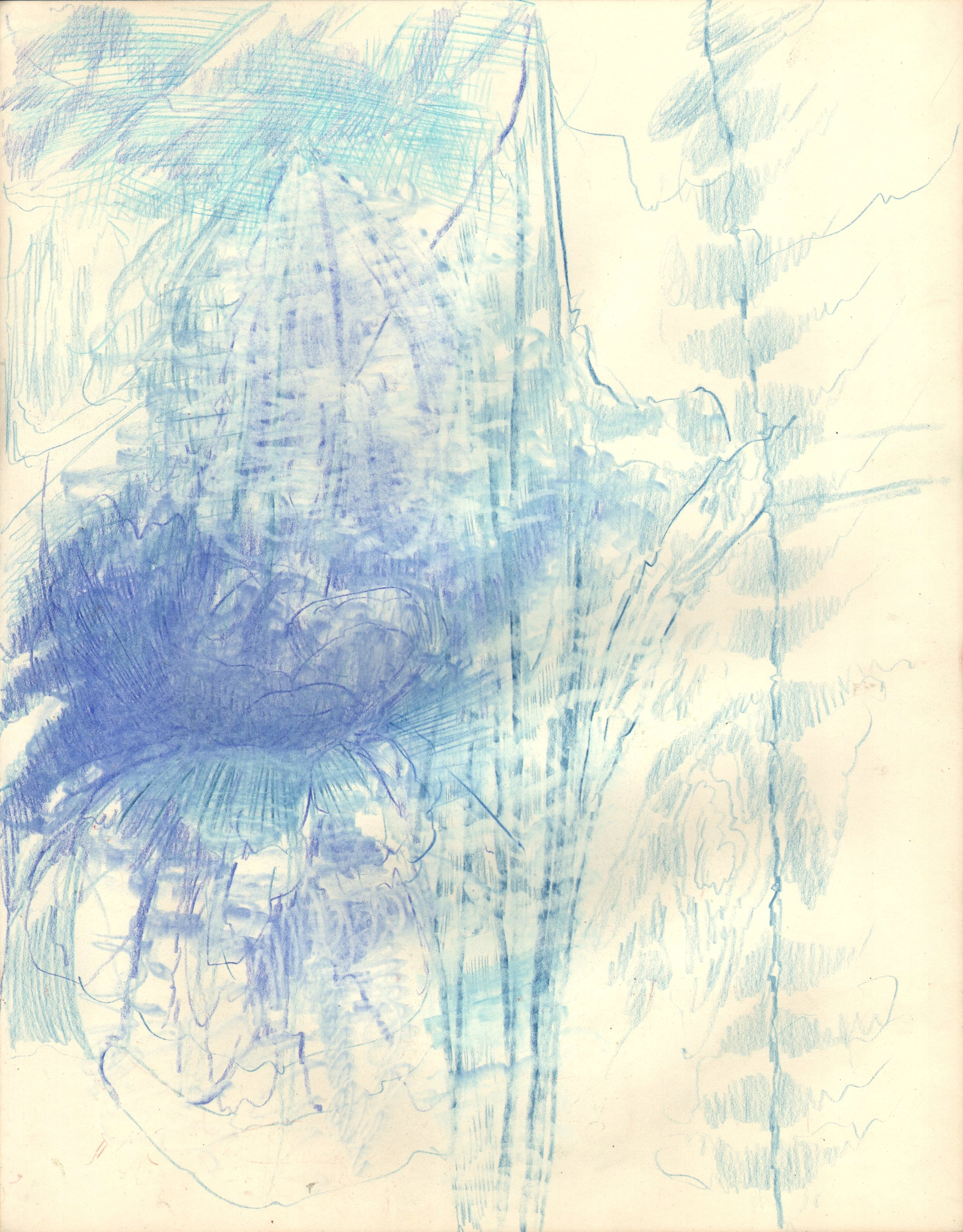Blue Light Falling, 2015, 14 x 11 inches, pencil on paper