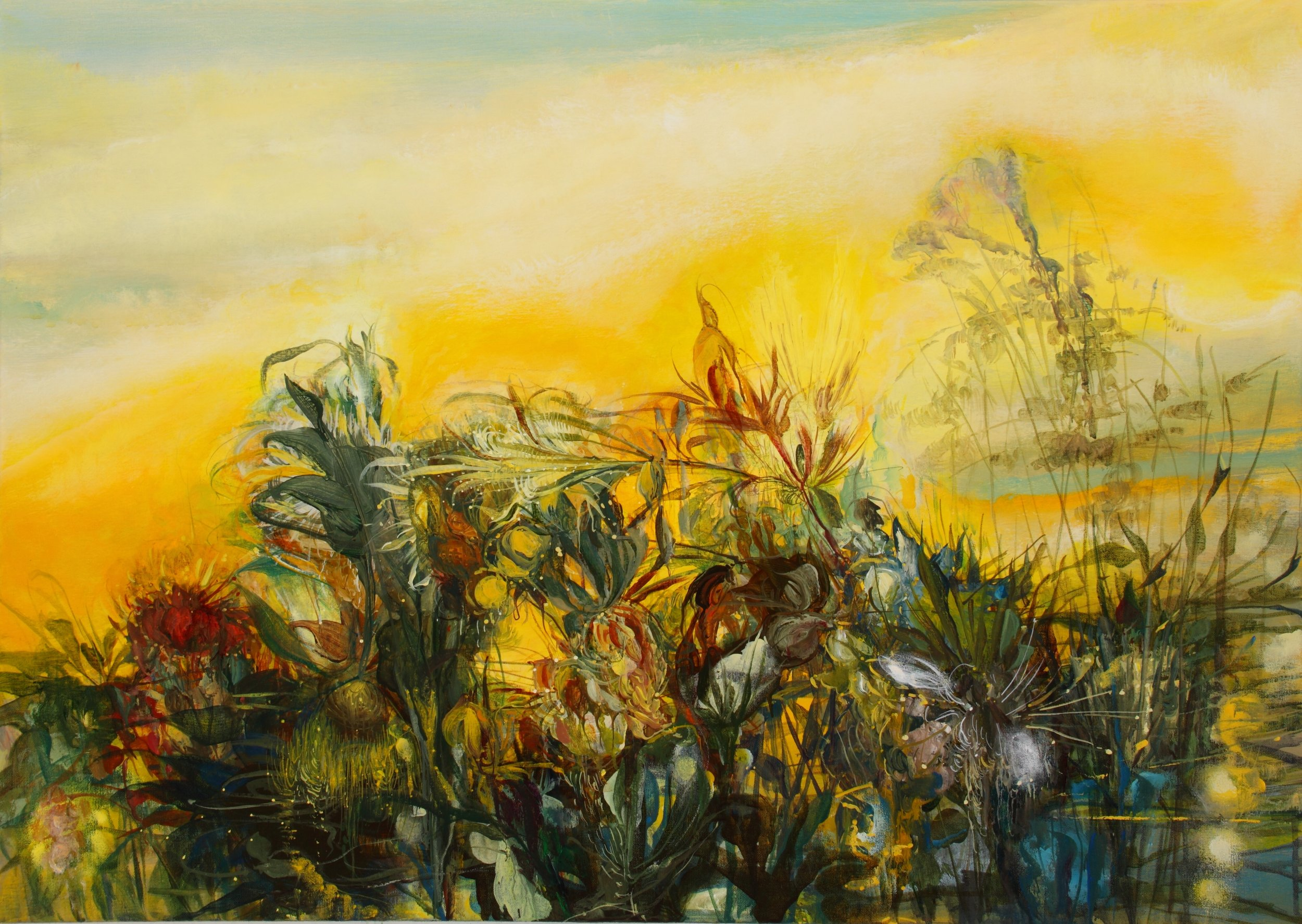 Magic Gold Full Sun, 2011, 30 x 42 inches, acrylic on canvas