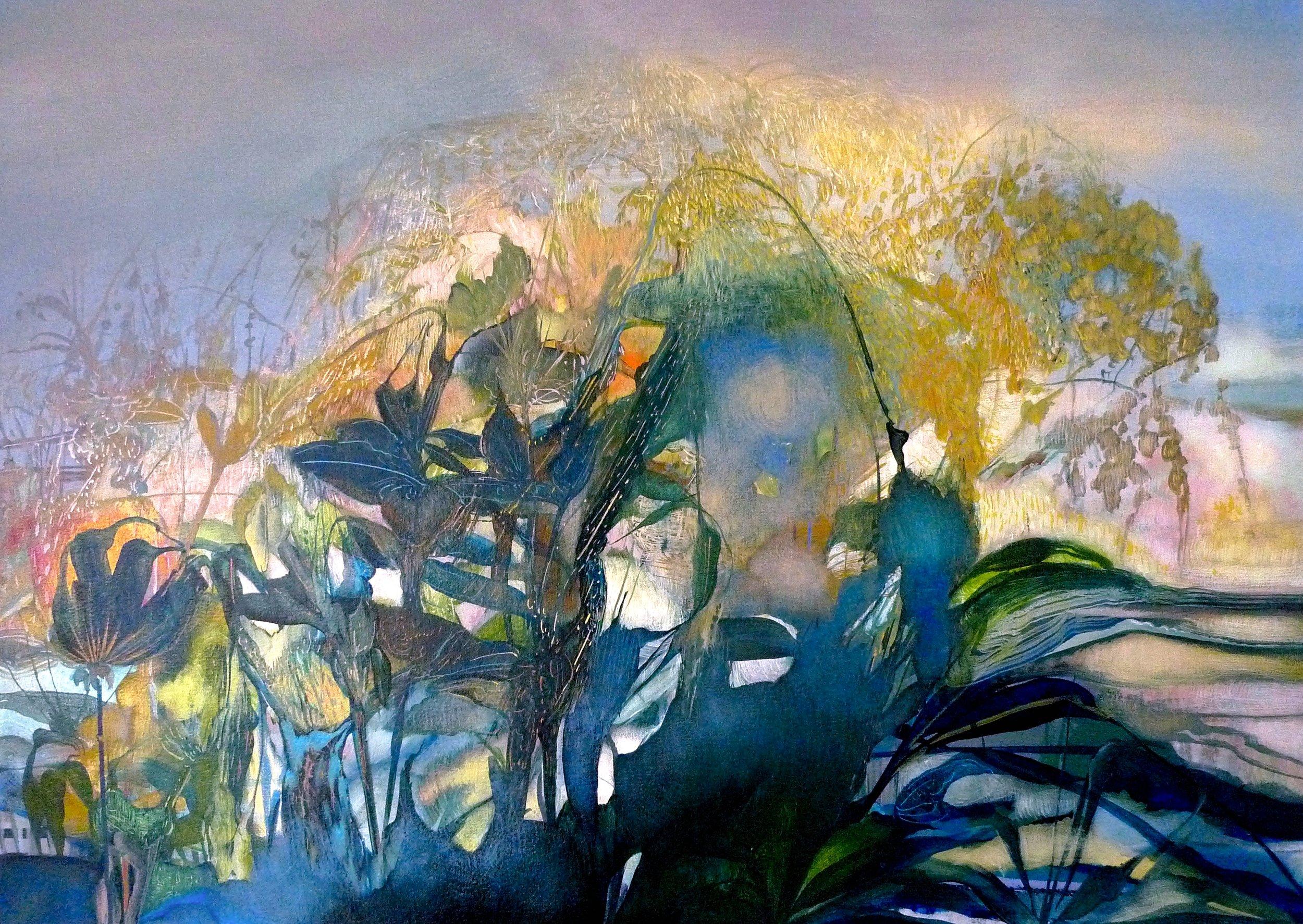 Rain and Twilight, 2017, 33 x 44 inches, acrylic on canvas