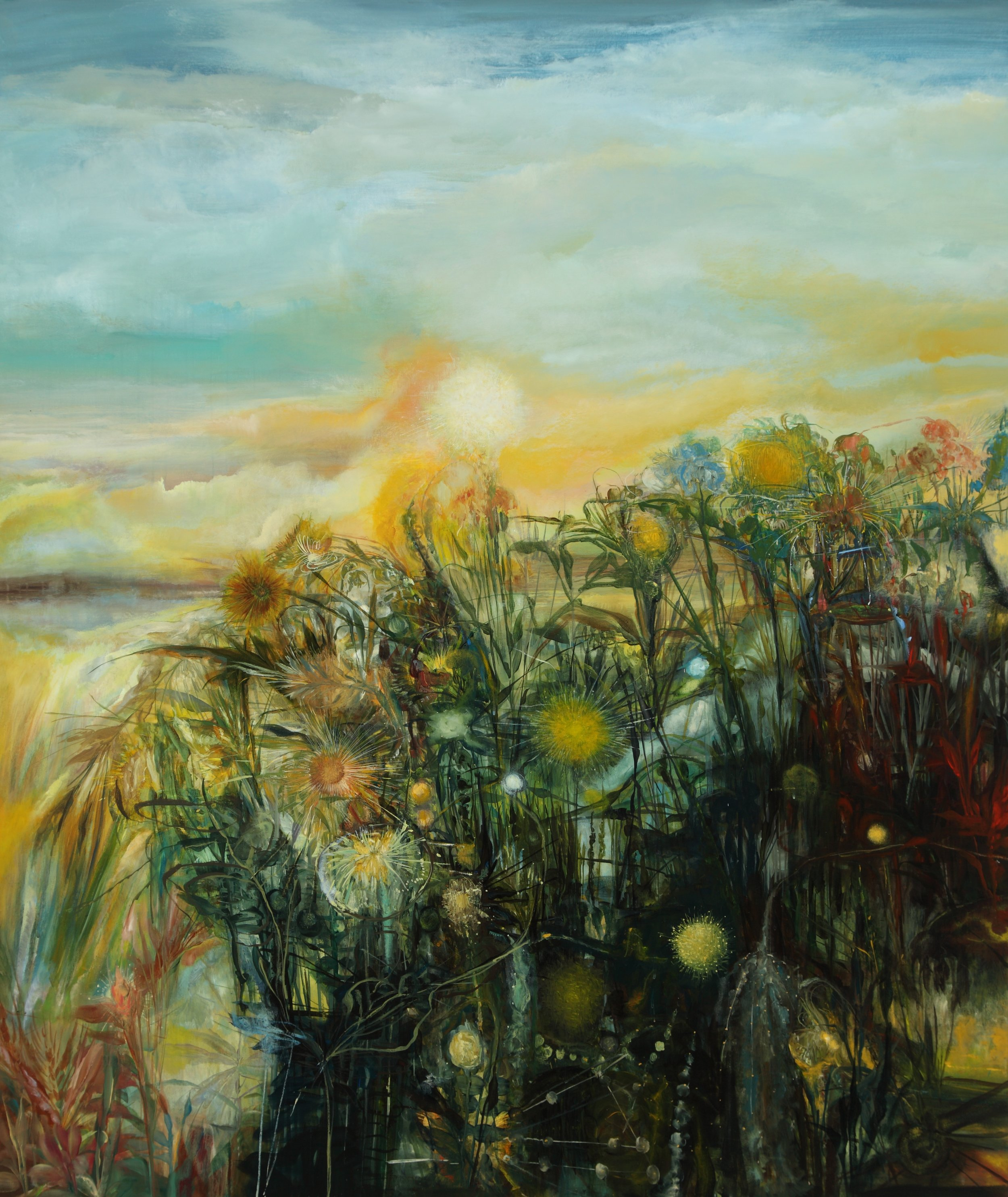 Flowers that Speak, Sunrise 2010-2013, 78 x 66 inches, acrylic on canvas
