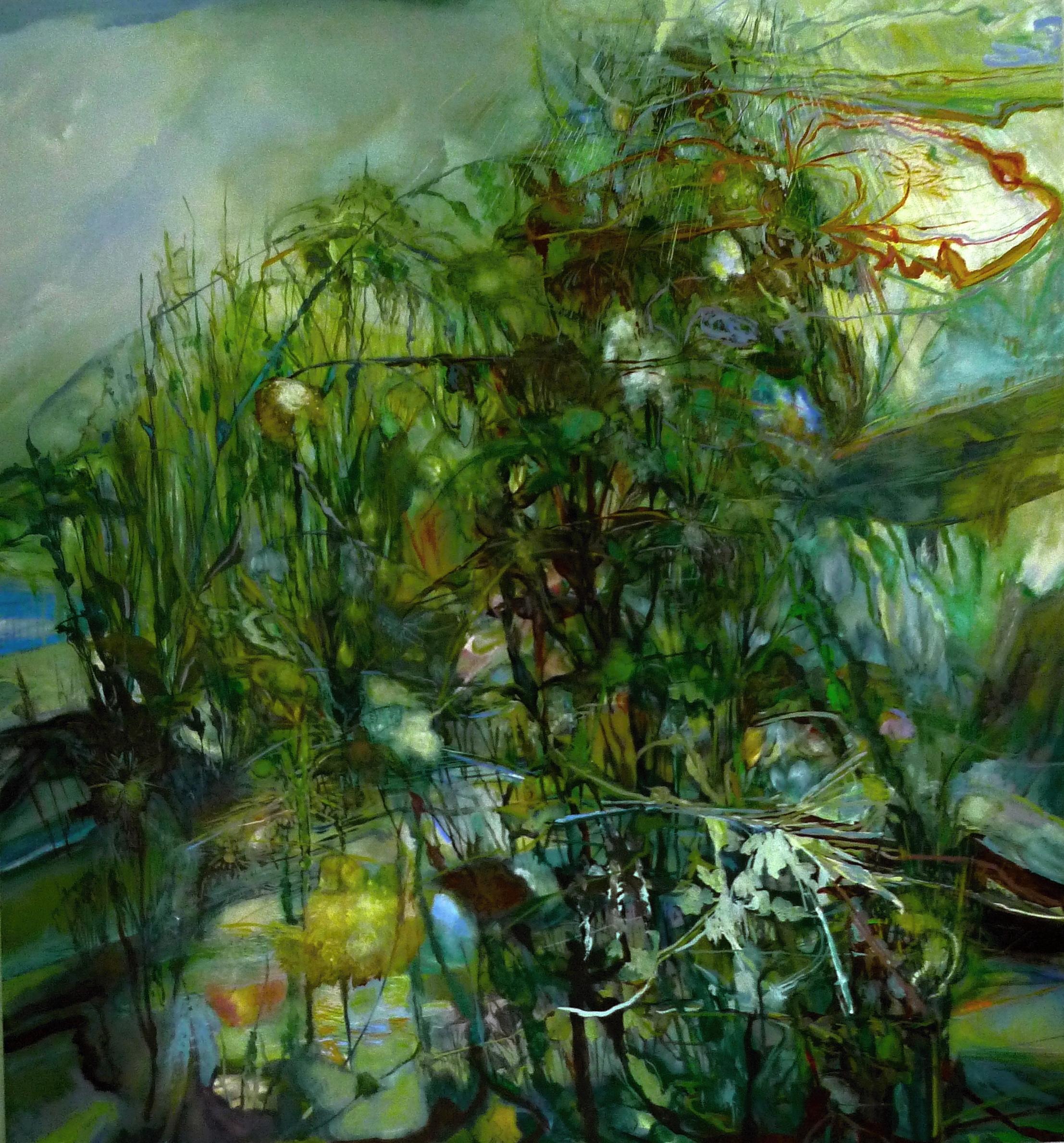 8. Reckless Garden ( reeds, lanterns, chambers, rain) 2015, 72 x 66 ins, acrylic on canvas.JPG