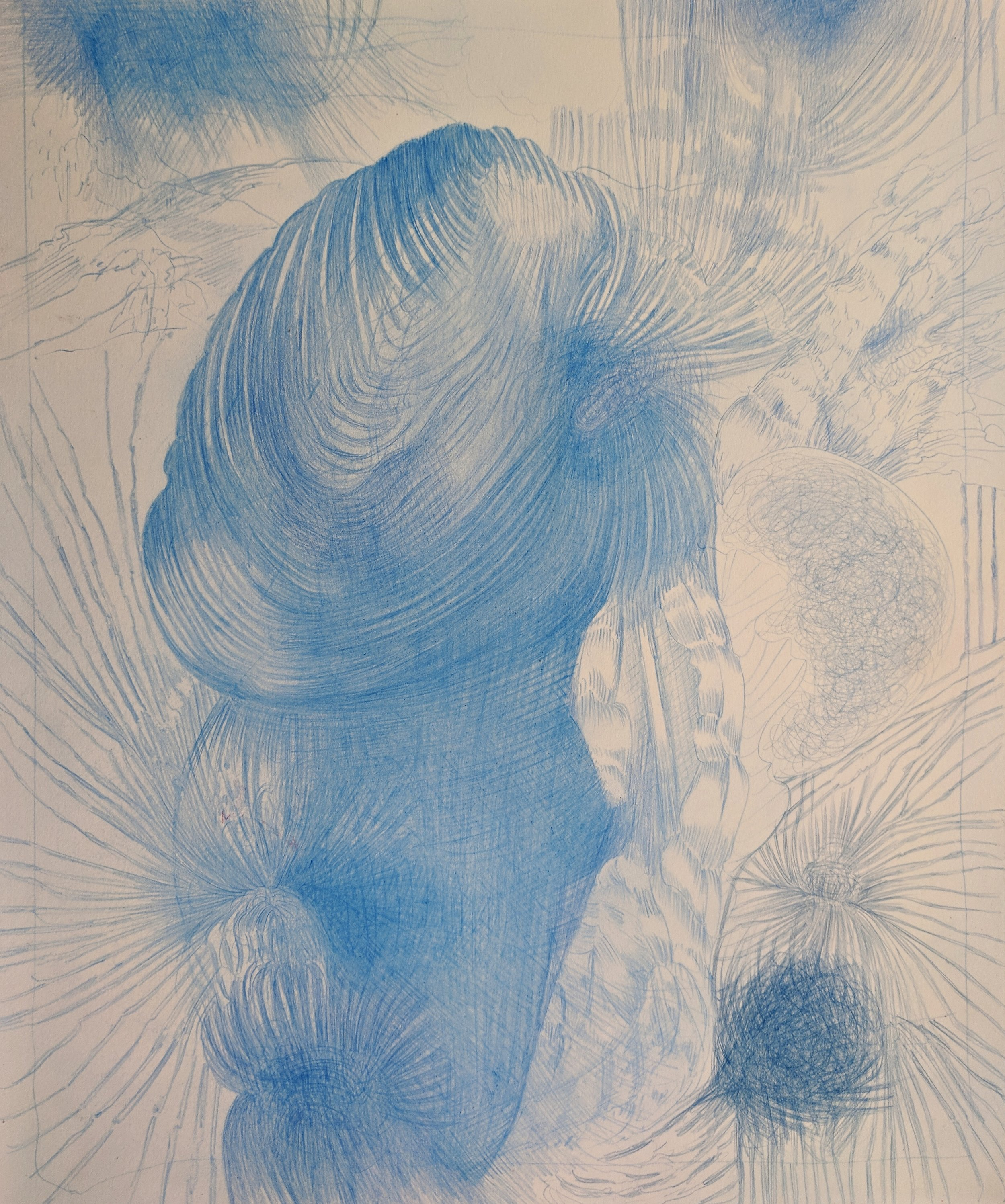Blue Pines and Heart Flares, 2018, 17 x 14 inches, pencil on paper