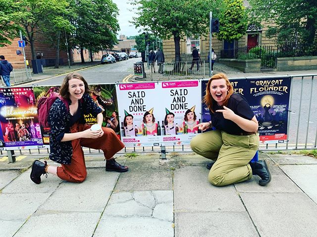 THIS WAS A VERY EXCITING MOMENT! Hell yeah, there we are! Has anyone else spotted a pit poster board around @edfringe ? Let us know if you wanna make two women v haps! 💃🏻💃🏻