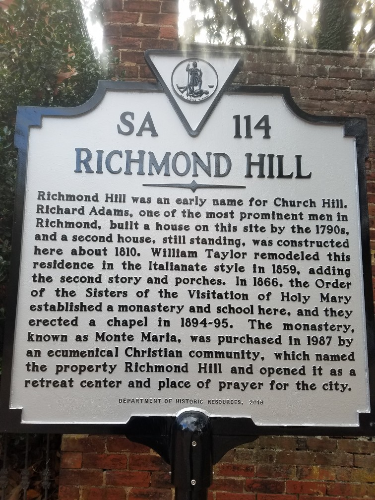 Richmond Hill, where we take some kids from Richmond's Mosby Court to prayer group on Tuesday evenings.
