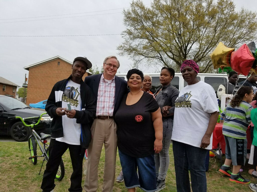 Antoine Prince and me giving away toys to kids in Mosby Court after two of my kids were murdered there last summer. It was the start of a long spike in murders in Mosby Court, which is still ongoing.