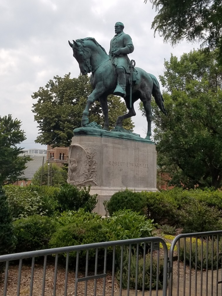 The Robert E. Lee Statue in Charlottesville, VA fenced off during the Unite the Right rally on August 11th and 12th, 2017.