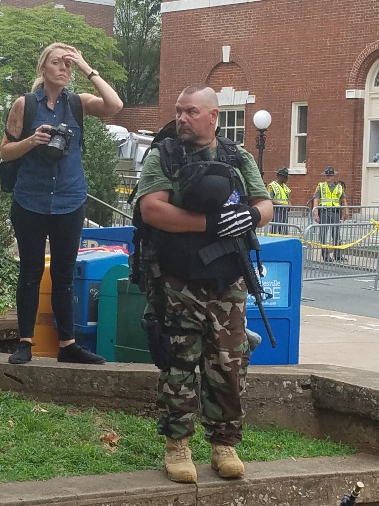 One of the heavily armed white supremacists in Emancipation Park, the morning of Aug. 12, 2017.