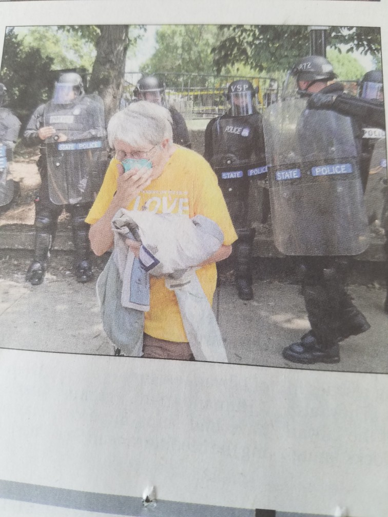 An 80 year old friend of mine after being tear-gassed by the police in Charlottesville, Aug. 12, 2017.
