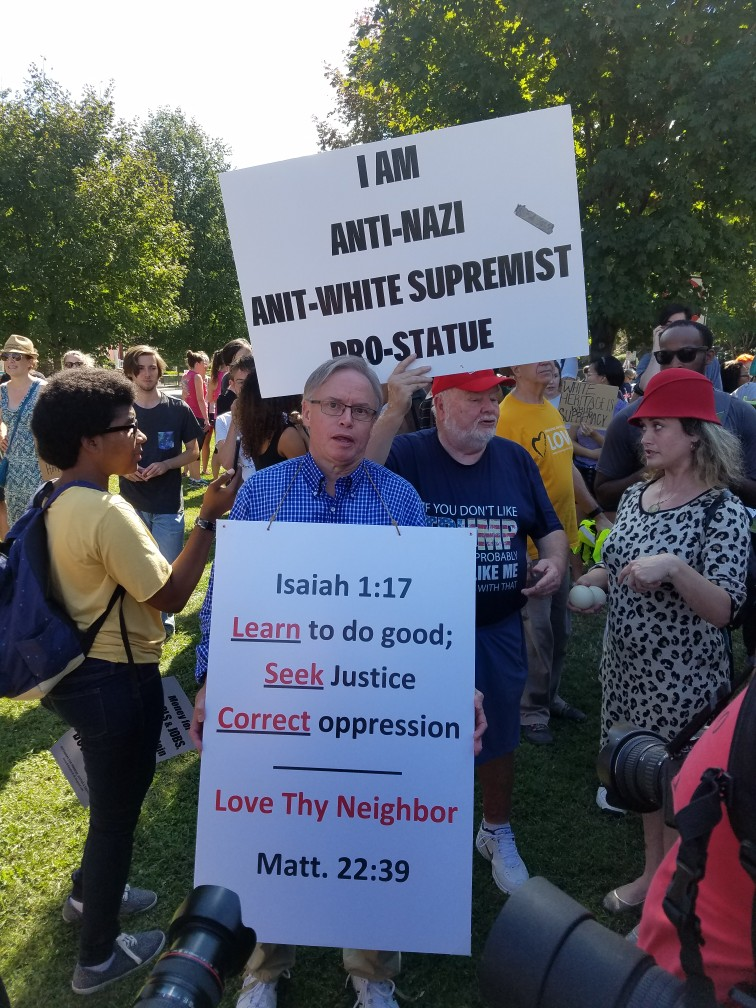 In this picture, I was trying to provide a scriptural message of love at the Sept. 16 rally in Richmond.