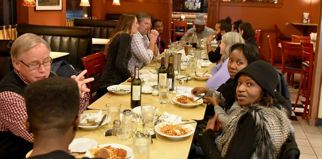 """In this picture, I am dining with the the family and a few close friends of MarShawn McCarrel in Columbus, Ohio, after the January 2017 Columbus screening of """"Down South,"""" a poem written and presented by MarShawn McCarrel before he passed away (I spoke about him in your film and transcripts thereof). MarShawn's life was an incredible Christian witness for racial justice and reconciliation, and even though I never met him, his life and Christ-based activism and service to his community changed my life and ministry, by helping to awaken me to the struggles of the Black community in the U.S., and the disparity between the Christ-honoring community and its leaders, vs. how they are portrayed in the media and perceived by the public. Although MarShawn was so much more than just a """"Black Lives Matter"""" activist (as they all are), the general public perceives them as a terrorist organization. They actually resemble Jesus far more than their conservative white """"evangelical"""" detractors do, IMO."""